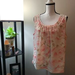 Talbots Petite Peach Floral Sleeveless Blouse